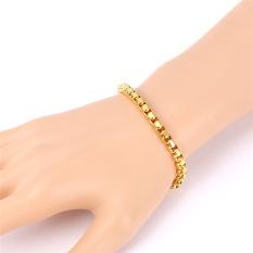 Spesifikasi U7 Laki Laki Perhiasan 18 Kb Nyata Emas Berlapis Kotak Klasik Gelang Emas Bagus