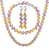 Toko U7 Multi Color Cubic Zirconia Necklace Earrings Bracelet Set Platinum Plated Fashion Jewelry Set Platinum Murah Di Tiongkok