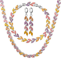 Harga U7 Multi Color Cubic Zirconia Necklace Earrings Bracelet Set Platinum Plated Fashion Jewelry Set Platinum U7 Ori