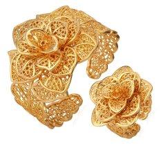 Promo U7 Baru Cincin Gelang 18 Kb Nyata Emas Berlapis Indah Wanita Trendi Partai Besar Hadiah Perhiasan Bunga Yang Ditetapkan Emas Di Tiongkok