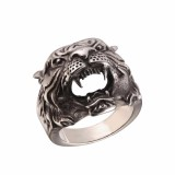 Beli U7 Baru Hot Punk Tiger Head Ring Punk Rock Perhiasan Berlapis Emas Stainless Steel Men Fashion Hiphop Biker Cocktail Cincin Emas Perak Intl