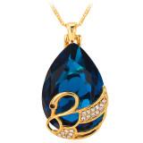 Jual U7 Perhiasan Kristal 18 Kb Emas Berlapis Batu Tetesan Air Imitasi Kalung Hadiah Romantis Pasangan Swan Biru Murah Di Tiongkok