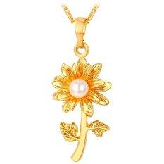 Beli U7 Perhiasan Mutiara Kalung Liontin Bunga 18 Kb Nyata Emas Berlapis Perempuan Mode Perhiasan Emas U7 Dengan Harga Terjangkau