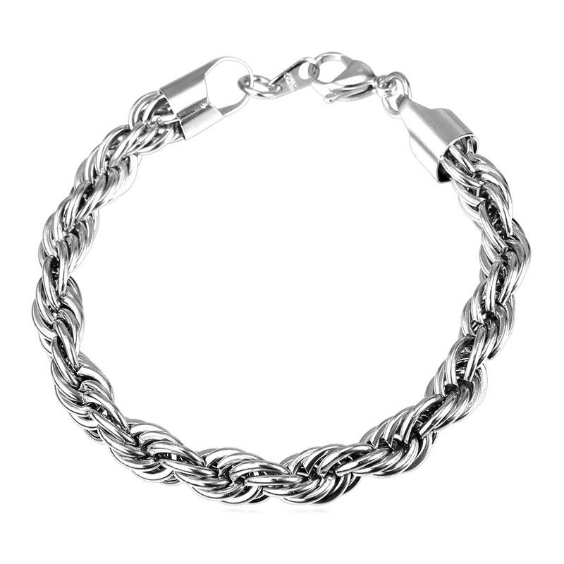 Hadiah sempurna U7 Punk A Stainless Steel Twisted Rantai Gelang Fashion Pria/Wanita Aksesoris Perhiasan Hadiah Pesta