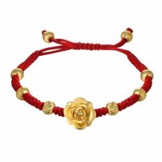 U7 Merah Charm Beads Tali Rantai Gelang untuk Wanita Fashion Perhiasan Hadiah Romantis Untuknya Berlapis Emas Bunga Gelang (emas) -Intl