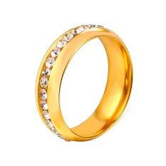 U7 Berlian Imitasi Cincin Pasangan untuk Kekasih 18 K Emas Emas Disepuh Fashion Wanita/Pria Perhiasan Hadiah Sempurna untuk Cinta Cincin Aksesoris 6-11 (Emas) -Intl