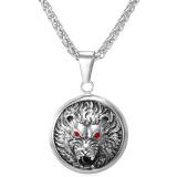 Toko Jual U7 Liontin Kalung Berlian Imitasi Kepala Singa For Pria 316 Liter Stainless Steel Fashion Aksesoris Perhiasan Putih
