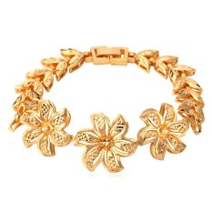 U7 Romantic Jewelry 18K Real Gold Plated Casual Windmill Charms Thick Carve Chain Bracelet (Gold)