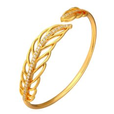 Beli U7 Romantis Daun Manset Gelang Kubik Zirkonia 18 Kb Nyata Emas Berlapis Fashion Wanita Hadiah Perhiasan Emas Online