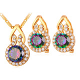 Review U7 Romantis Zirconia Anting Kalung Batu Mewah Dibangun Untuk Wanita 18 Kb Nyata Emas Berlapis Hadiah Perhiasan Emas U7 Di Tiongkok