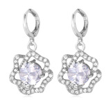 Beli U7 Rose Zircon White Gold Plated Drop Earrings Platinum Pake Kartu Kredit