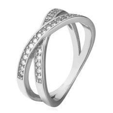 U7 Sexy Rings Cubic Zirconia Band Platinum Plated Fashion Perhiasan Aksesoris (Platinum)