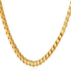 U7 Sederhana Emas Kotak Kalung Rantai 55.88 Cm 18 KB Nyata Emas Berlapis Fashion Wanita/Pria Hadiah Perhiasan (emas)