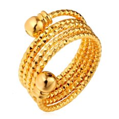 U7 Cincin Terbuat dari 18 KB Emas Berlapis Perempuan (Emas)