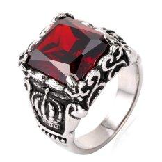 Harga U7 Stainless Steel Menakjubkan Merah Gotik Cz Mayat Pengendara Bermotor Ukuran 7 13 Merah