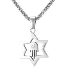 U7 Bintang David Hamsa Hand Pendant Kalung Busana Rhinestone 316L Stainless Steel Pria/Wanita Perhiasan Hadiah Pesta Yang Sempurna untuk Pria (Perak) -Intl