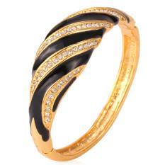 U7 Desain Unik Hitam Stripe Bangle Trendy Wanita 18 K Emas Emas Disepuh Berlian Imitasi Perhiasan Gelang Gelang