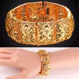 U7 Vintage Wide Cuff Gelang Untuk Wanita China Perhiasan India 20 Cm Panjang 2 2 Cm Lebar Emas Disepuh Cute Logam Fashion Gelang Emas Perak Promo Beli 1 Gratis 1