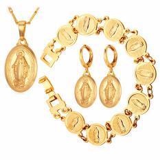 Beli U7 Perawan Maria 18 K Berlapis Emas Kalung Earrings Gelang Set Untuk Wanita Fashion Gold Plated Jewelry Sets Sempurna Pesta Ulang Tahun Hadiah Lucky Aksesoris Emas Intl Online