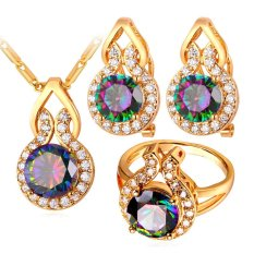 Jual U7 Kalung Pernikahan Mewah Perhelatan For Perempuan Zirkonia Batu Mewah 18 Kb Nyata Emas Berlapis Perhiasan Set Emas Branded Murah