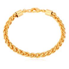 U7 Spiga Gandum Gelang Rantai Link 18 KB Nyata Emas Berlapis Fashion Perhiasan Aksesoris Pria Rantai (Emas)