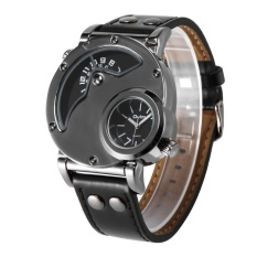 Ubest Mewah Pria Kuarsa-watch Dual Time Leather Band Watch HP9591B untuk Outdoor Perjalanan Hitam-Intl
