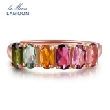 Uinn Lamoon 100 Natural Natural Oval Multi Warna Tourmaline 925 Sterling Silver Ring Rose Emas Intl Tiongkok