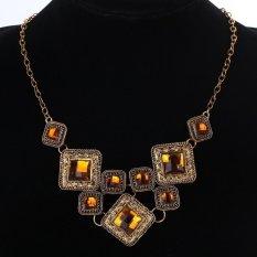 UJS Fashion Vintage Perunggu Clear Orange Crystal Rhinestone Square Desain Liontin Kalung Perhiasan Hadiah untuk Wanita