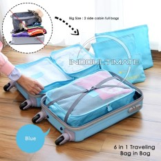 ULTIMATE BIG SIZE Travel Bag 6in1 Organizer IM OR 60-03 / Organizer Space Koper 1 Set - BLUE