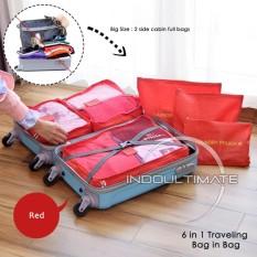 ULTIMATE BIG SIZE Travel Bag 6in1 Organizer IM OR 60-03 / Organizer Space Koper 1 Set - RED