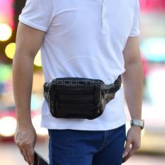 Ultimate Tas Pinggang Kulit 6 Saku/Tas Slempang/Waist Bag 6 Pocket Zipper Import FS TB-8290 - Black
