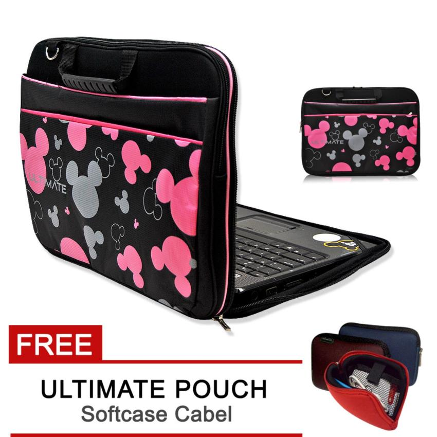 Ultimate Tas Bag Cover Softcase Backpack Laptop pria wanita Triple Mic 14  Hitam - FREE ULTIMATE CABLE POUCH 3ecc438a60