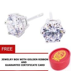Paman Sam Diamond Solitaire Desain Tes075 Stud Earring Silver925 dengan Zirkonia Gemstone 0.75 Carat Kotak Perhiasan Gratis dengan Goldenribbon- INTL
