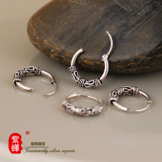 Ungu Kecoa S925 Retro Perempuan Asli Thailand Perak Anting-anting Sterling Silver Anting