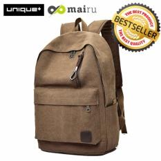 Beli Unique Tas Ransel Laptop Backpack Kanvas Travel Unisex Korea Coklat Cicil