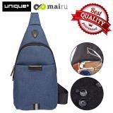 Jual Unique Tas Selempang Anti Air Bag Music Travel And Running Bag Dark Blue Branded