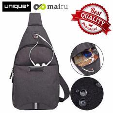 Jual Unique Tas Selempang Anti Air Bag Music Travel And Running Bag Dark Grey Baru
