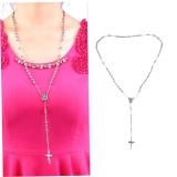 Harga Unisex Charm Silver Rosary Beads Rantai Stainless Steel Cross Pendant Kalung Kj2 Warna Perak Intl Paling Murah