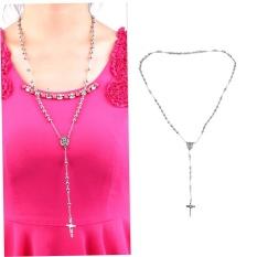 Spesifikasi Unisex Charm Silver Rosary Beads Rantai Stainless Steel Cross Pendant Kalung Kj2 Warna Perak Intl Baru