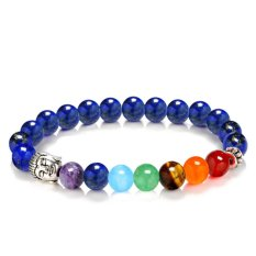 Unisex Natural Stone 7 Chakras Gemstone Beaded Bracelet Yoga Reiki Prayer Energy Healing Balance Bracelet Jewelry Dark Blue Style - intl
