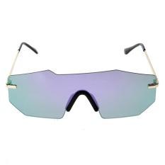 Unisex Dipersonalisasi Dua Cermin Balok Kacamata Hitam (Ungu Quicksilver)-Intl