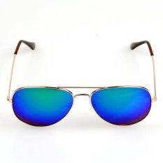 Unisex TAC Lensa Bingkai Logam Musim Panas Gradient Sunglasses (Biru)