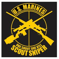 United States Marines Scout Sniper One Shoot One Kill Cutting Sticker