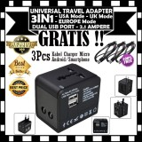 Harga Universal Adapter Travel Adaptor 3 In 1 Dual Usb Port 2 1 Ampere Gratis 3Pcs Kabel Charger Casan Micro Terbaru
