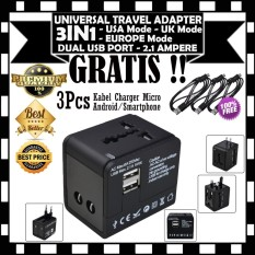 Jual Beli Universal Adapter Travel Adaptor 3 In 1 Dual Usb Port 2 1 Ampere Gratis 3Pcs Kabel Charger Casan Micro Di Dki Jakarta
