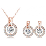 Harga Universal Kalung Dan Anting Bijouterie Wedding Jewelry Sets 18K St0017 A Rose Gold Yang Murah