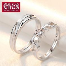 Untuk hidup perak sterling untuk pria dan wanita cincin kawin cincin berlian simulasi
