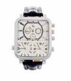 Promo Toko V6 642272 Jam Tangan Pria Triple Time Silver Rectangle Faux Leather Strap Putih