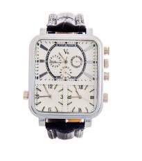 Harga V6 642272 Jam Tangan Pria Triple Time Silver Rectangle Faux Leather Strap Putih Origin