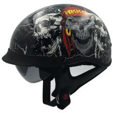 VCOROS Buka Wajah Harley Helm Sepeda Motor Brilant Broken Skull S Ukuran-Intl
